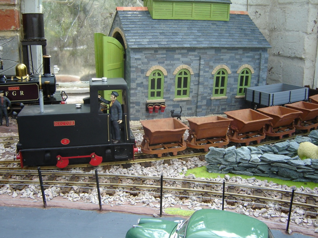 'Hector' passing the loco depot at 'Fromeside'